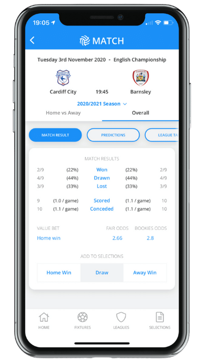 App screen - match result tab